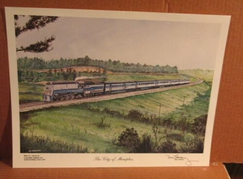 """Older Ron Flanary """"The City of Memphis"""" Limited Edition Train Print 1979"""