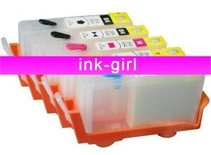 5 X HP 364 REFILLABLE REFILL INK JET CARTRIDGES NO CHIP