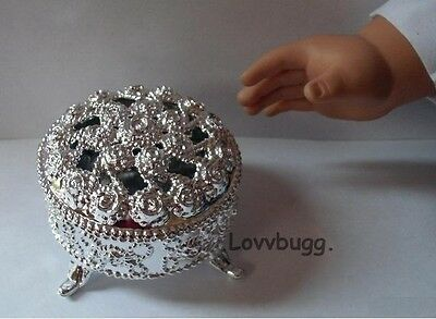"Lovvbugg Fancy Doll Jewelry Box Silver for 18"" American Girl Doll Accessory"