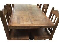 Solid wood 6 seater table & chairs