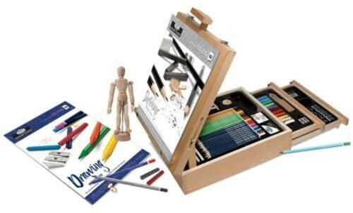 Royal & Langnickel Sketching and Drawing Easel Artist 124 Pieces Set Storage Box