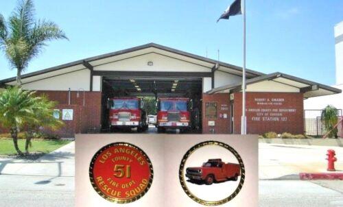 Beautiful LA County   51 fire fighter Rescue Squad Remembrance Coin w Case