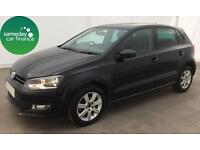 £155.10 PER MONTH BLACK 2013 VOLKSWAGEN POLO 1.2 MATCH 5 DOOR PETROL MANUAL