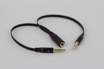 3.5mm Stereo Audio Male 2 Female Headset Mic Y Splitter Earphone adapter Black
