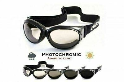 Padded Motorcycle Riding Goggles-TRANSITION PHOTOCHROMIC LENS (Clear To Smoked) ()