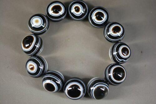 Super Energy Tibetan Pure Natural Agate Dzi Sky Eyes Big Beads Bracelet  A2