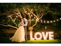 3FT, 4FT Marquee LED Sign Lighting - Stunning and magical - Weddings, Birthdays, Awards. *FOR HIRE*