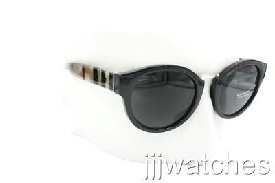 d2c93810252 New Burberry Women Round Polished Black Sunglasses BE4227 360087 50  215