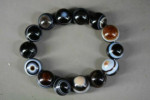 Rare Tibetan Pure Natural Agate DZI * Sky Eyes * Beads Bracelet 14mm A5