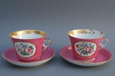 2 große Kaffee Tassen mit Blumenmalerei, 19.Jahrh.