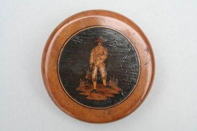 Holzdose mit Einlegearbeit, Französisch, 19.Jahrh.
