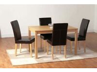 BRAND NEW OAKMERE WOODEN DINING TABLE SET WITH 4 LEATHER CUSHIONED CHAIRS - HEAVY DUTY