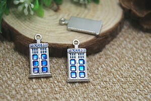 5pcs-- tardis Charms, Silver doctor who blue police box Charm pendants 12 x 27mm