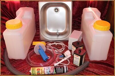 Miniküche  Bausatz Campingküche  Technikpaket  Spülbecken 325x265x150mm Batterie