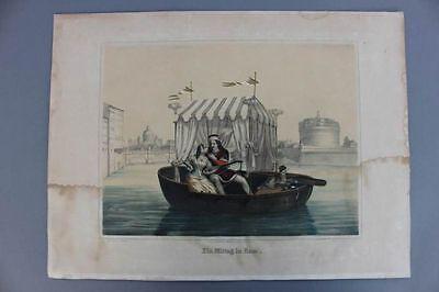 Ein Mittag in Rom, Liebespaar, Lithographie, um 1840