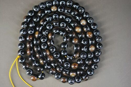 Rare Tibetan Natural Agate DZi *Two-Side Sky Eyes* Beads Necklace A22