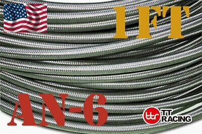 Stainless Steel Double braided 1500 PSI -6AN AN6 Oil Fuel Gas Line Hose by Foot Double Braided Stainless Steel Hose