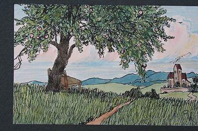 Landschaft mit Kirche, Aquarell, 1930er Jahre