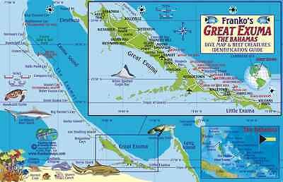 Great Exuma Bahamas Dive Map & Coral Reef Guide Laminated Fish Card Franko Maps