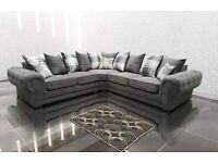 💯🎉BRAND NEW VERONA GREY PLUSH FABRIC CORNER SOFA SUITE OR 3+2 SETTEE ON SALE