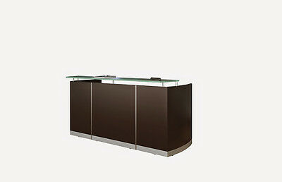 Mocha Laminate Reception Desk Textured Glass Counter With No Drawers