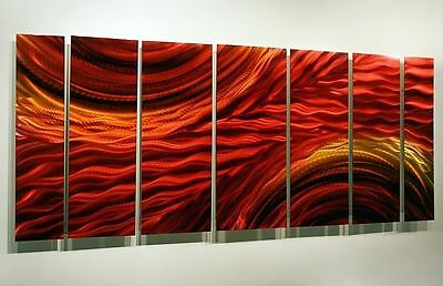 Statements2000 Abstract Metal Wall Painting Red Gold Jon Allen Harvest Moods 2