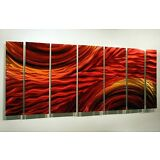 Modern Abstract Metal Wall Artwork Home Decor Painting Red Gold By Jon Allen