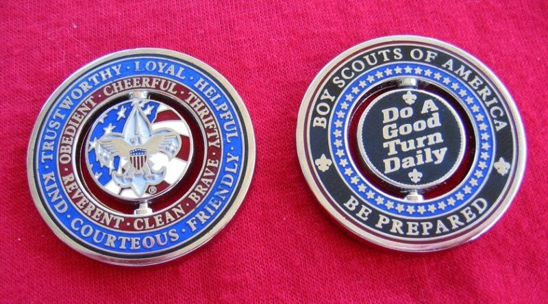FLIP SPIN Turn Challenge Coin Boy Cub Scout Motto Law Oath Medallion Token