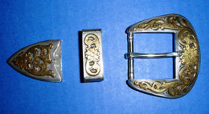 Western-Rodeo-Decor-Silver-Gold-Plated-Belt-Buckle-Set