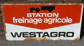 Large Enamel Painted Metal French Farming Agricultural Automotive Breaking Systems Sign