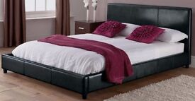 ❤1-YEAR-GRNTEE❤ ITALIAN FAUX LEATHER BLACK/BROWN DOUBLE BED WITH 13INCH 1000 POCKET SPRUNG MATTRESS