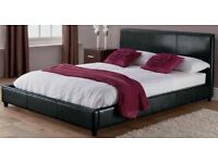 100% GUARANTEED PRICE!BRAND NEW-Double Leather Bed With 9 Inch Deep Quilted Dual Sided Mattress