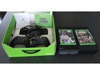 Xbox One 500gb boxed with 2wireless controllers fifa 18 and COD WW2