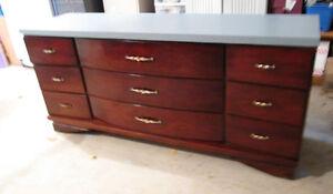 Elegant Solid Wood Grey/ Brown Long Dresser or desk