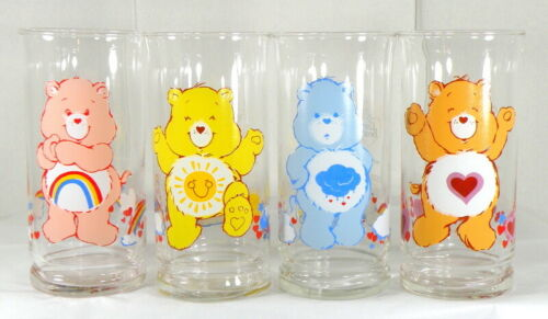 4 Vintage 1983 CARE BEARS Pizza Hut Collector Series Libbey Glasses/Tumblers