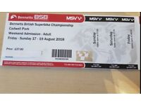 Bennetts British Superbike - Cadwell Park Weekend Tickets plus 1 Camping 17-19 Aug