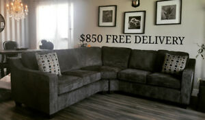 BRAND NEW GREY SECTIONAL WITH 2 PILLOWS $850 FREE DELIVERY !!