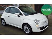 £115.70 PER MONTH WHITE 2012 FIAT 500 1.2 LOUNGE 3 DOOR PETROL MANUAL
