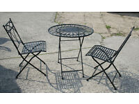 Patio Set of Black Metal Folding Table and Two Chairs