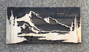 Custom hand made rustic decor wood signs wooden silhouettes
