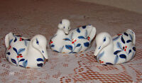 Set of 3 Hand-Painted White & Blue Ceramic Duck Figurines