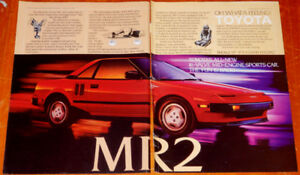 AWESOME RED 1987 TOYOTA MR2 SPORTS CAR RETRO AD =- ANONCE 80S