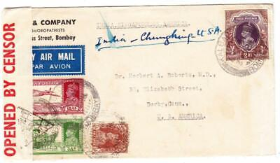 India SG#248,#253,#258,#260(2rupee)-KALBADEVI BOMBAY 6/JUN/41-AIR MAIL-, used for sale  Shipping to India