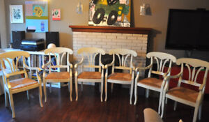 Set of 6 beautifully distressed, hand-painted dining chairs!