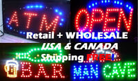 ► LED OPEN SIGN, ATM Sign, ManCave & BAR Signs; $44 + Ship FREE★