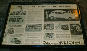 1937 Hudson for $695.00 - vintage car ad - ready to display
