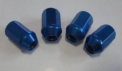 4 Stück Alu-Radmuttern M12x1,25 blau eloxiert