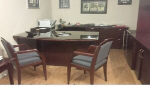 Executive U Shaped Desk side cabinet 2 chairs end table $1500 Kitchener / Waterloo Kitchener Area image 1