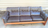 Genuine LEATHER 3 Seater SOFA Leather Couch TEAK FRAME