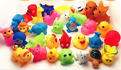 13Pcs Mixed Animals Colorful Soft Rubber Float Squeeze Baby Wash Bath Toy ^G pZ